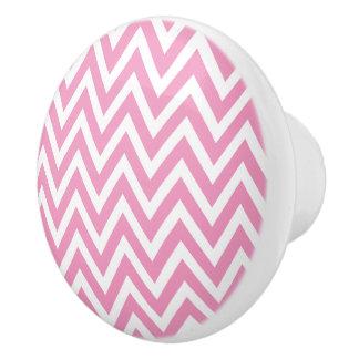 Chevron rosado pomo de cerámica