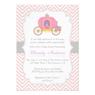 Chevron rosado princesa Carriage fiesta de bienv
