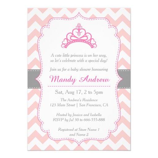 Chevron rosado, princesa Crown, fiesta de bienveni