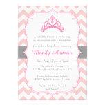 Chevron rosado, princesa Crown, fiesta de bienveni Comunicados Personales