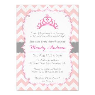 Chevron rosado princesa Crown fiesta de bienveni