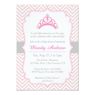 """Chevron rosado, princesa Crown, fiesta de Invitación 4.5"""" X 6.25"""""""