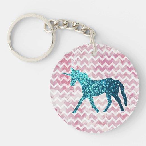 Chevron rosado, unicornio azul del brillo llavero
