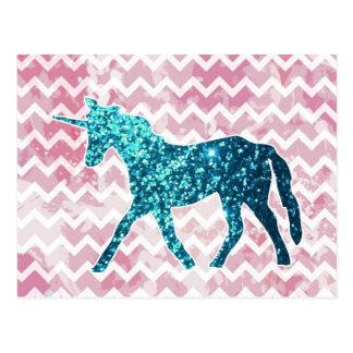 Chevron rosado, unicornio azul del brillo tarjeta postal