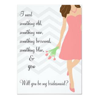 Chevron rosado usted será mi dama de honor invitación 11,4 x 15,8 cm