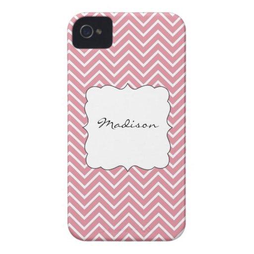 Chevron rosado y blanco con su nombre iPhone 4 Case-Mate coberturas
