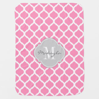 Chevron rosado y blanco de Bubblegum con el Manta De Bebé