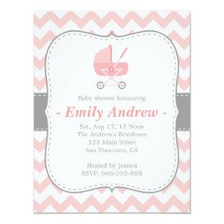 Chevron rosado y blanco de la fiesta de bienvenida invitación personalizada