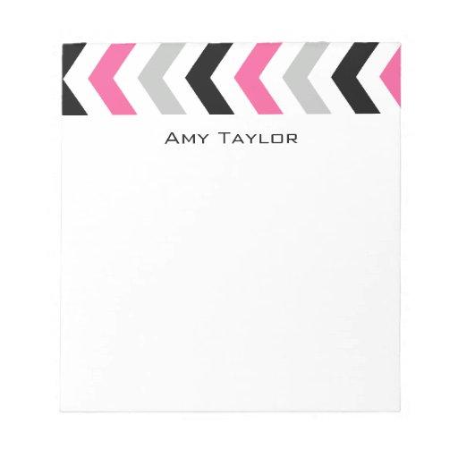 Chevron rosado y gris negro moderno bloc de notas