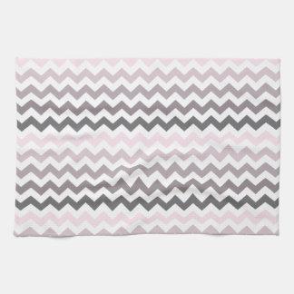 Chevron rosado y gris toallas
