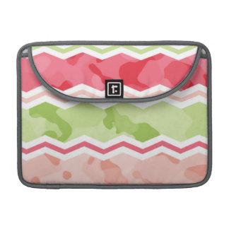 Chevron rosado y verde claro coralino femenino Cam Funda Macbook Pro
