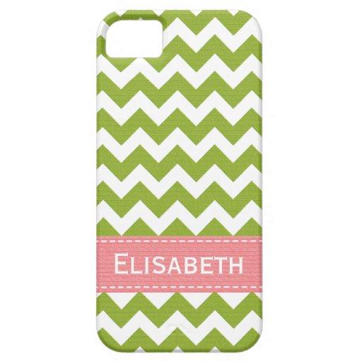 Chevron rosado y verde de muy buen gusto iPhone 5 Case-Mate coberturas