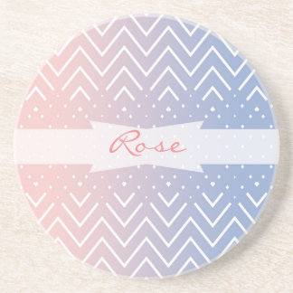 Chevron rose quartz serenity name personalized drink coaster