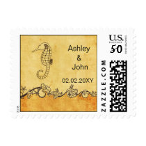 chevron seahorse, beach  wedding stamps