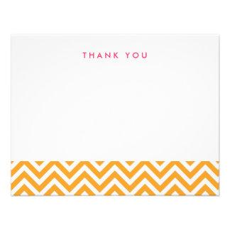 Chevron simple anaranjado le agradece las tarjetas anuncios