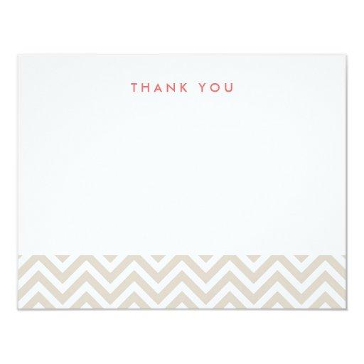 Chevron simple beige de lino le agradece las invitación 10,8 x 13,9 cm