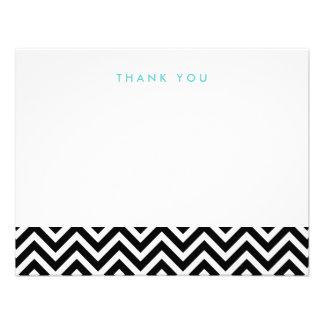 Chevron simple negro y blanco le agradece las tarj invitacion personal
