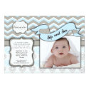 Chevron Sip And See New Baby Boy Photo Template Card (<em>$2.16</em>)
