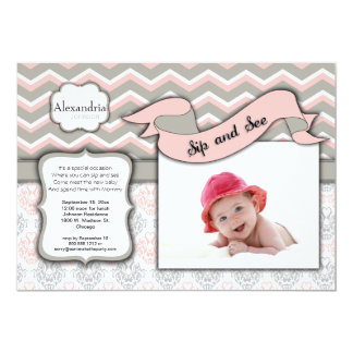 Chevron Sip And See New Baby Girl Photo Template Card