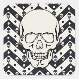 Chevron skull pattern square sticker