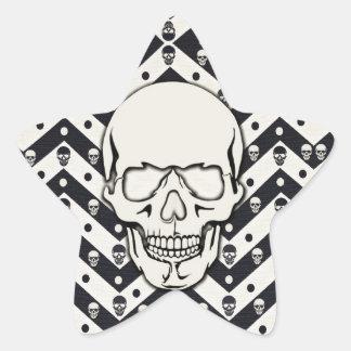 Chevron skull pattern star sticker