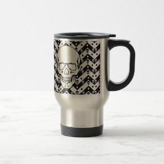 Chevron skull pattern travel mug