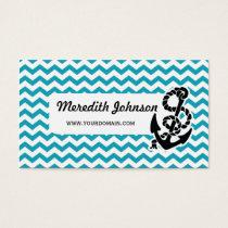 Chevron Stripe Blue Anchor Nautical Business Card