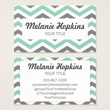 Professional Business Chevron Stripe Mint Green Gray Retro Business Card