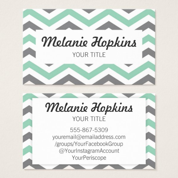 Chevron Stripe Mint Green Gray Retro Business Card