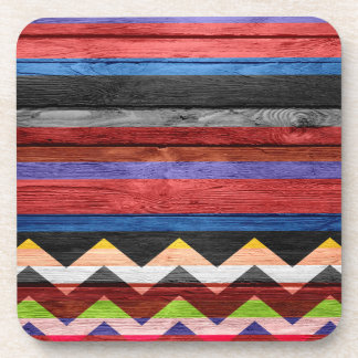 Chevron Stripe Modern Wood Beverage Coaster