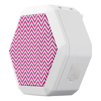 Chevron Stripe Pink Pattern White Bluetooth Speaker