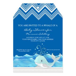 Chevron Striped Cute Whale n Waves Boy Baby Shower Card