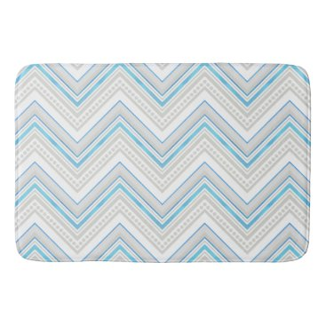 Beach Themed Chevron Striped Dot Pattern Ocean Beach Modern Bath Mat