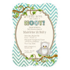 Chevron Striped Hoot Owl Little Boys Baby Shower Card