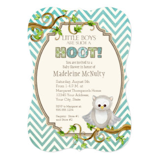 Chevron Striped Hoot Owl Little Boys Baby Shower Personalized Invitation Cards