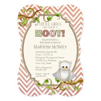 Chevron Striped Hoot Owl Little Girls Baby Shower Card