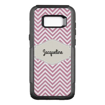 font themed Chevron Striped Pattern Pink White w Your Name OtterBox Commuter Samsung Galaxy S8  Case