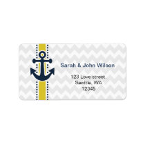 chevron stripes, anchor, nautical address labels