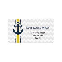 chevron stripes, anchor, nautical address labels