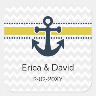 chevron stripes, anchor, nautical envelopes seals square sticker