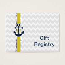chevron stripes, anchor, nautical Gift registry Business Card