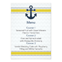 chevron stripes, anchor, nautical menu cards
