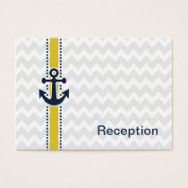 chevron stripes, anchor, nautical Reception cards