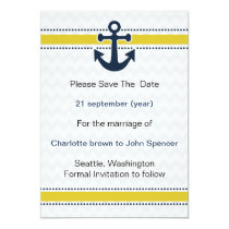 chevron stripes, anchor, nautical save the date card