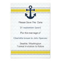 chevron stripes, anchor, nautical save the date card