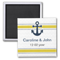 chevron stripes,anchor,nautical save the date magnet