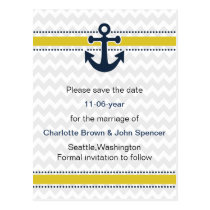 chevron stripes, anchor, nautical save the date postcard