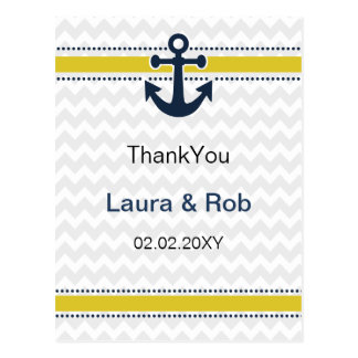 chevron stripes, anchor, nautical Thank You cards