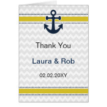 chevron stripes, anchor, nautical Thank You cards