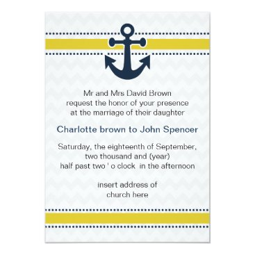 chevron stripes, anchor, nautical wedding invites